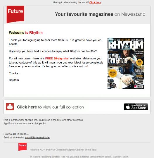 Grafika 4. Wiadomość powitalna od RHYTM Magazine