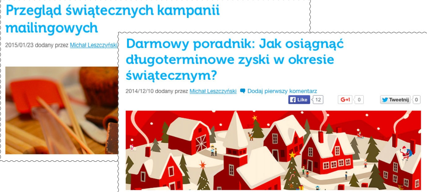 Przykładowe posty świąteczne z bloga GetResponse