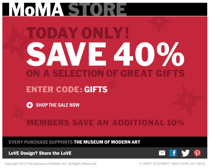 Subject: TODAY ONLY! FLASH SALE! 40% OFF GREAT GIFTS