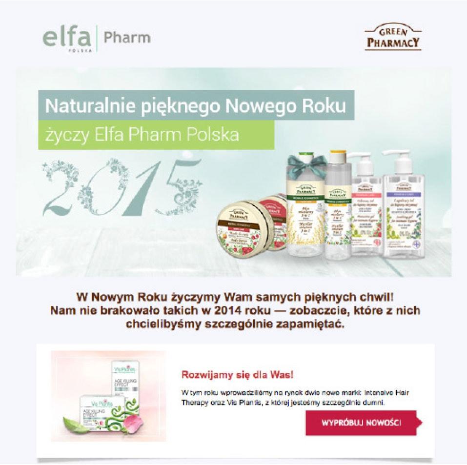 Fragment noworocznego newslettera od firmy Elfa Pharm