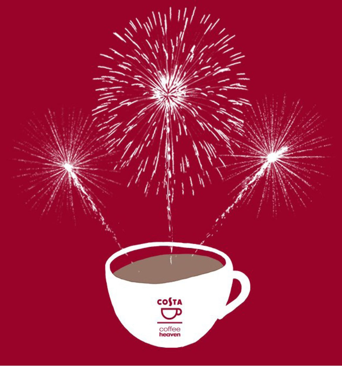Grafika noworoczna z profilu FB firmy Costa Coffee