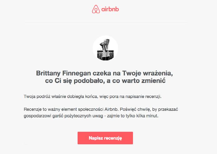 Zdj.20 Wiadomość od Airbnb wykorzystująca dynamiczne treści