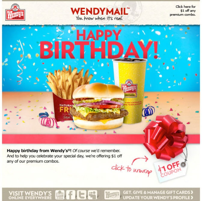 Picture 20. Birthday email example: great way to distribute coupons, build new sales and drive loyalty