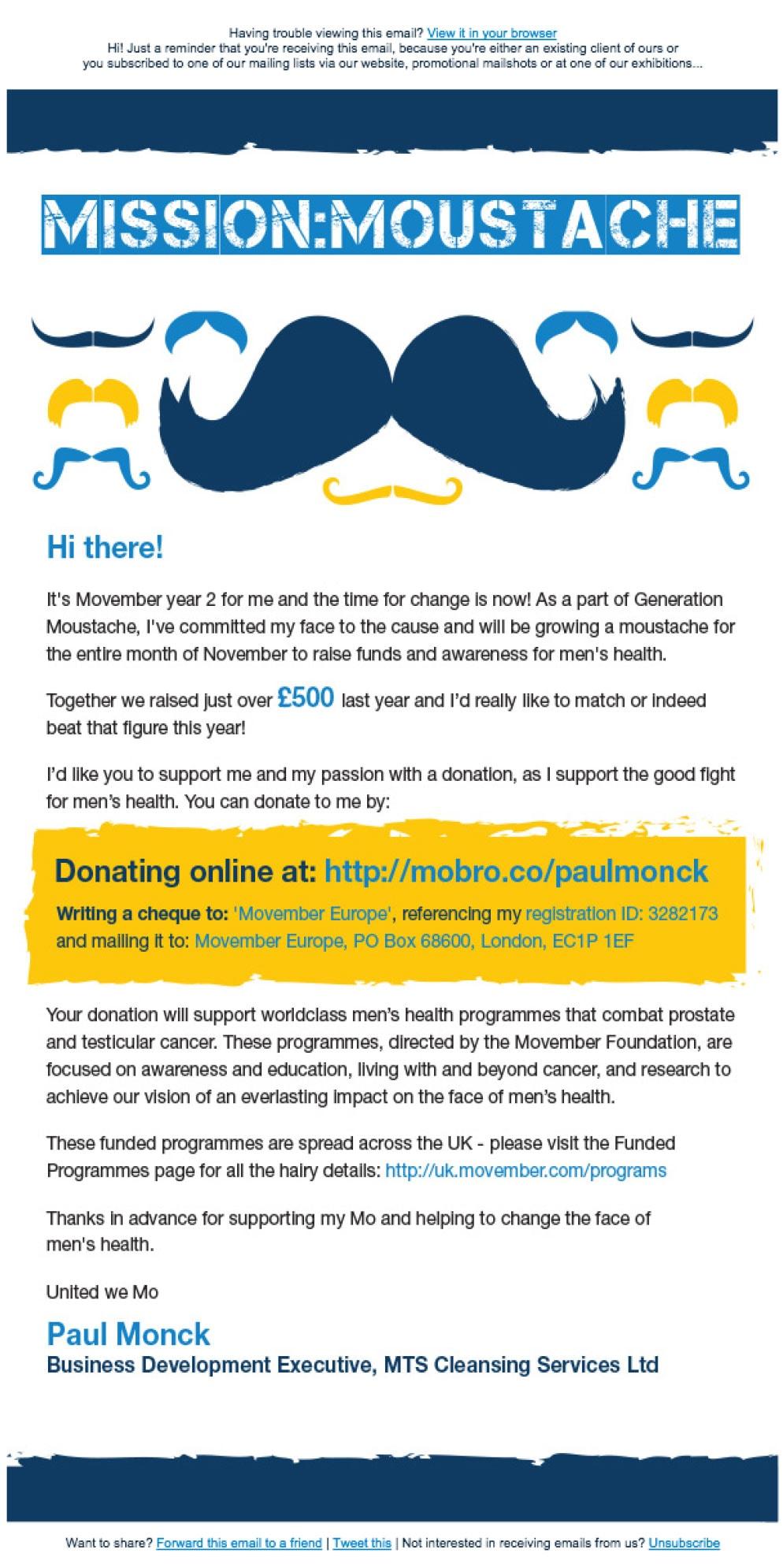 Email zachęcający do wsparcia akcji Movember
