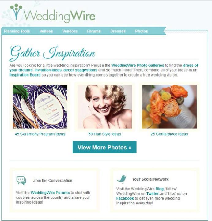 Grafika 7. Wedding Wire wiadomość 3. z cyklu powitalnego