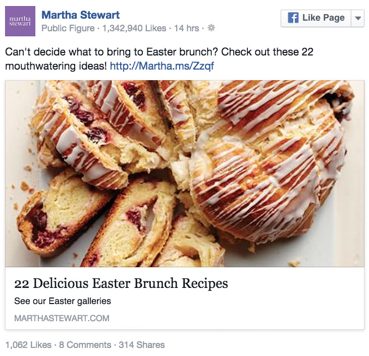 Img 7. Martha Stewart post - engagement levels pt. 1