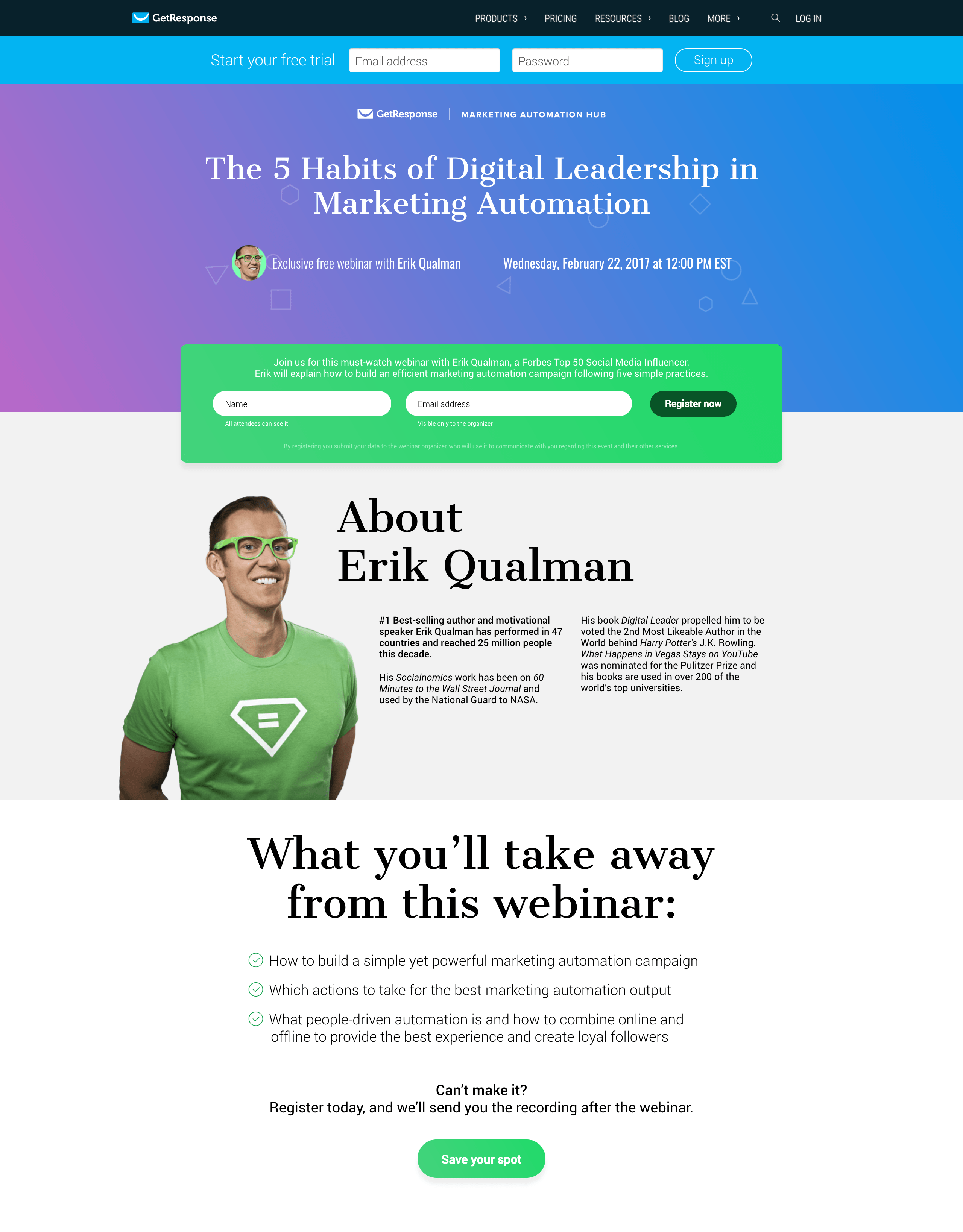 Landing page promoting a webinar with Erik Qualman