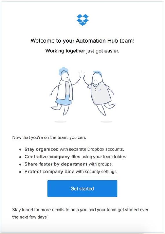 Email powitalny od firmy Dropbox, podkreślający zalety korzystania z tego serwisu