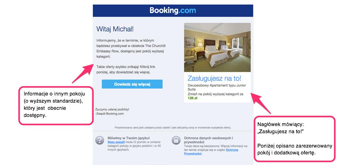 Rys. 4 Email z propozycją lepszego produktu od Booking.com