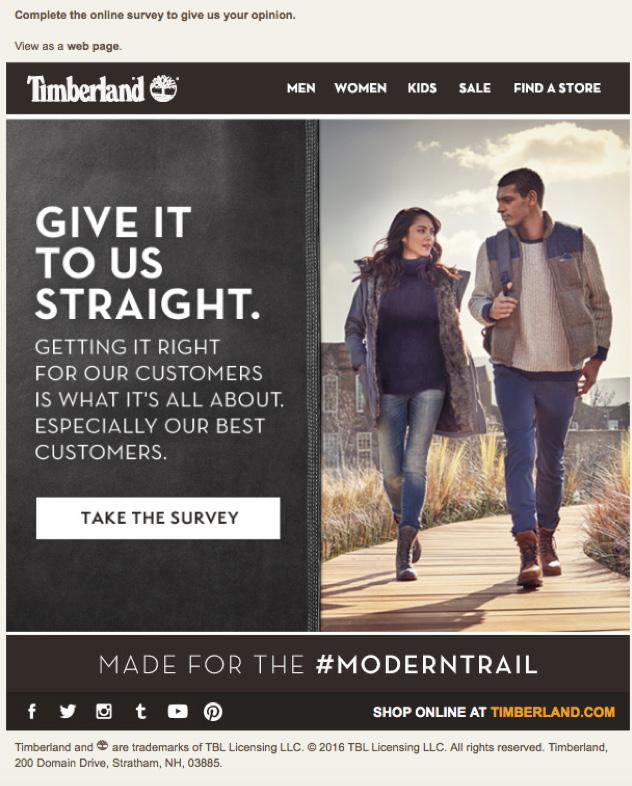 Email z ankietą od Timberland