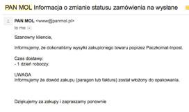 Zdjęcie 3. Przykład wiadomości potwierdzającej zrealizowane zamówienie od Panmol.pl