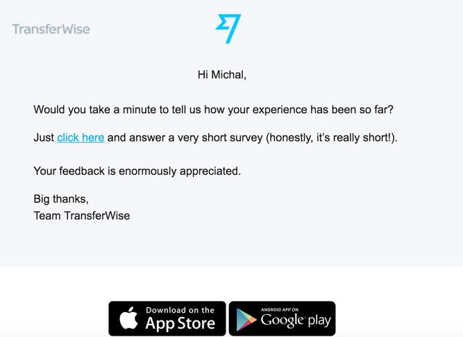 Email z ankietą od TransferWise