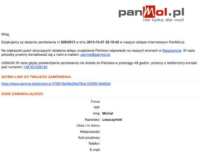 Zdjęcie 5. Przykład wiadomości potwierdzającej zrealizowane zamówienie od Panmol.pl
