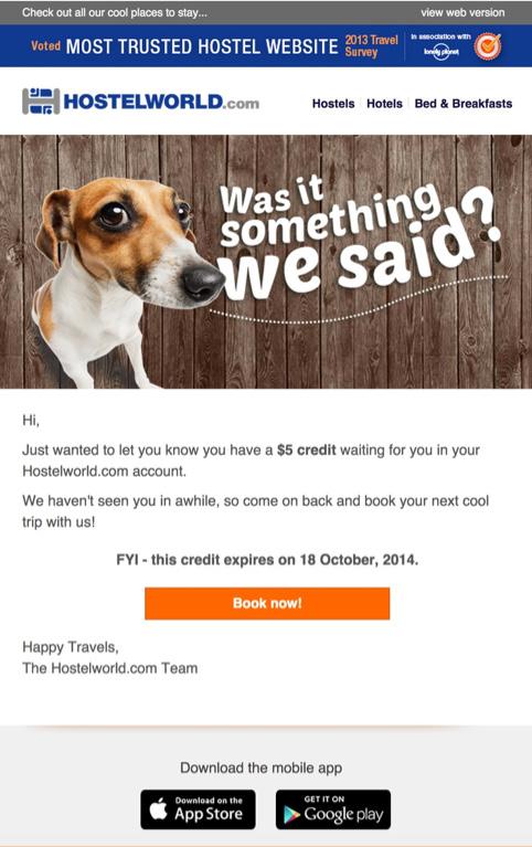 Email od Hostelworld mający na celu ponowne zachęcenie użytkownika