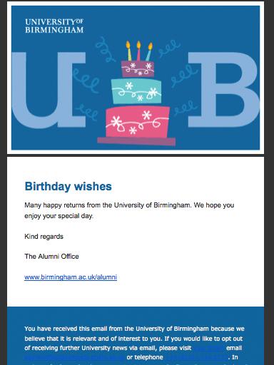 Zdjęcie 11. Wiadomość urodzinowa od Uniwersytetu z Birmingham