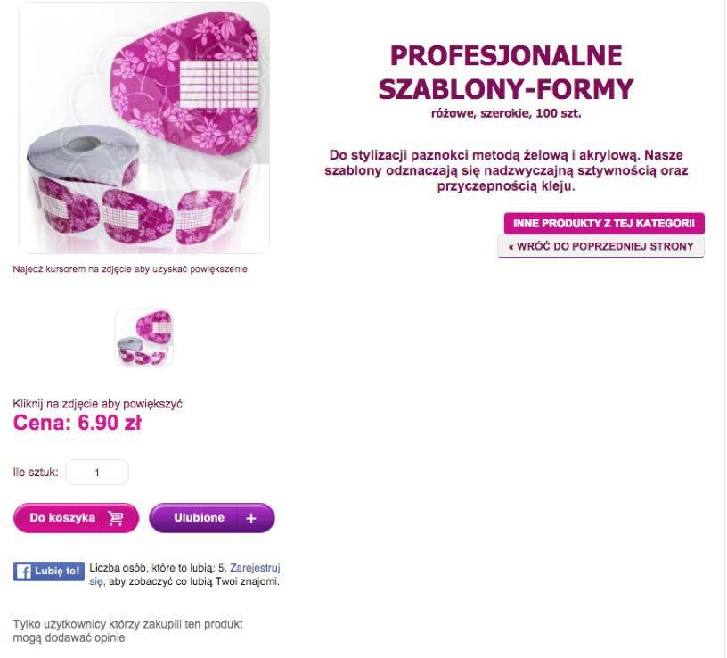 Zdj. 25 Równorzędne CTA na stronie produktu allepaznokcie.pl
