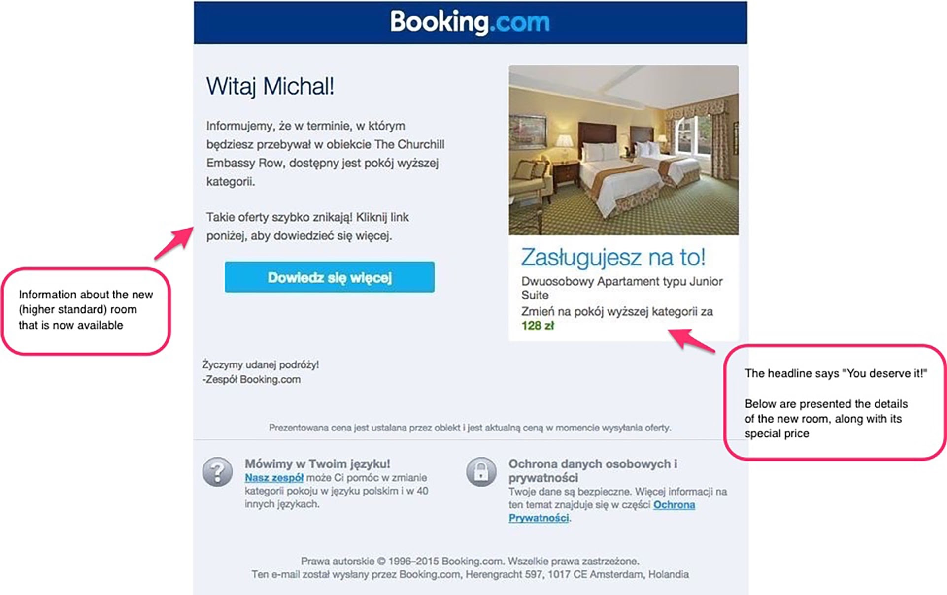 Up-selling Promotional Email from Booking