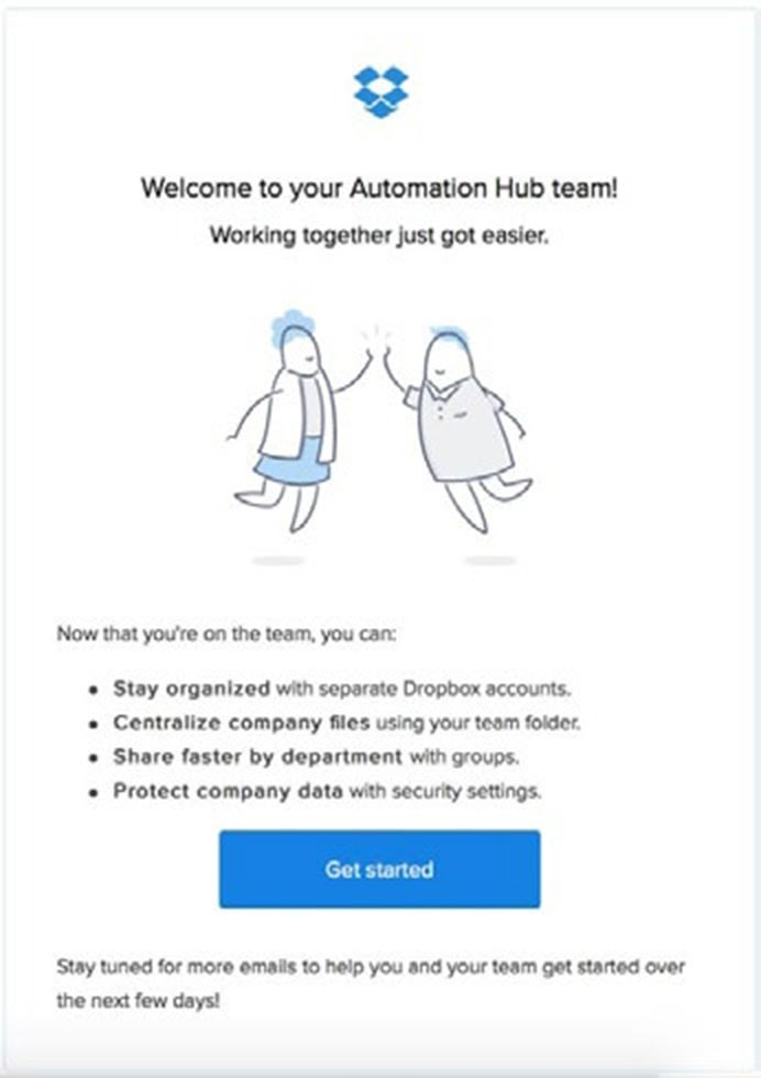 Img. 1 - Welcome email example from Dropbox mentioning the top benefits of their service