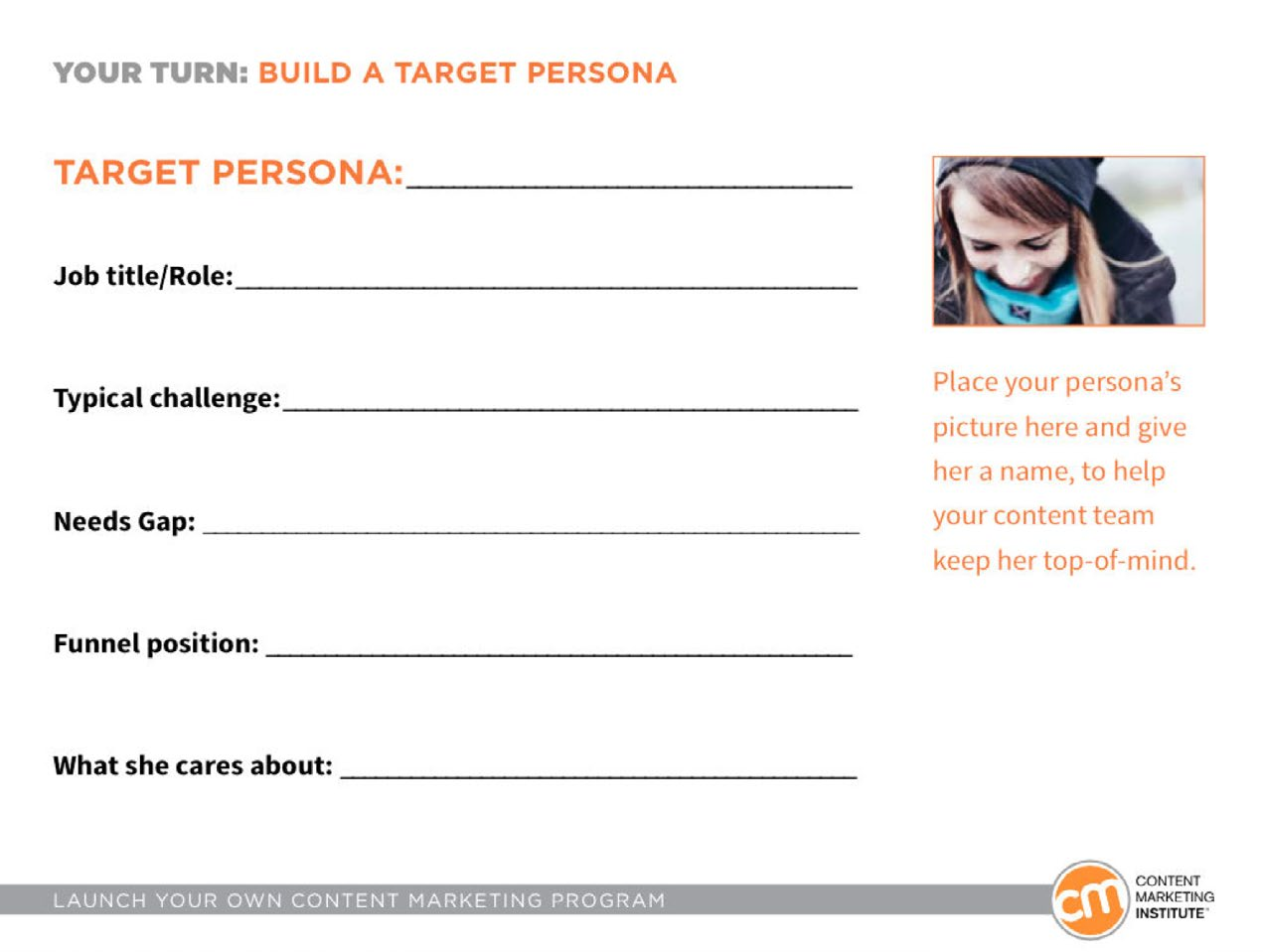 Img. 1 - Customer persona template from Content Marketing Institute.
