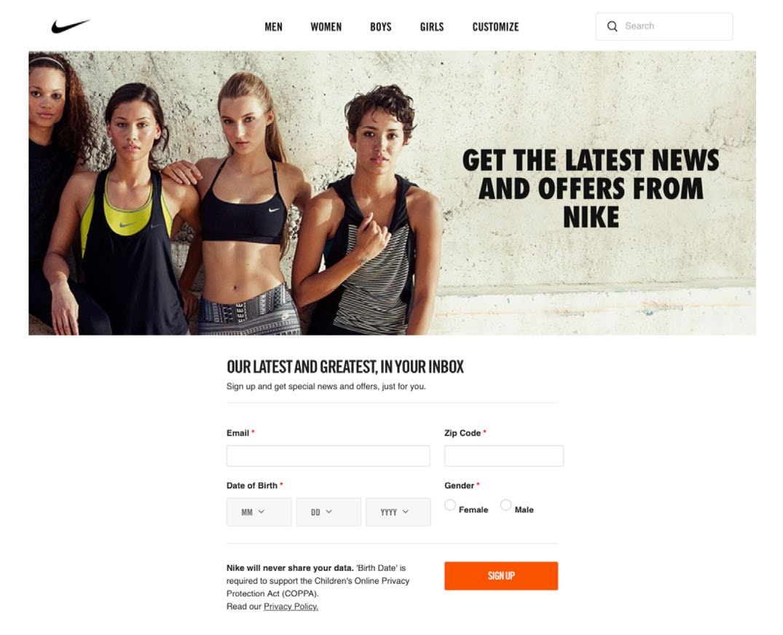 Img. 2 - Nike starts profiling during sign-up.