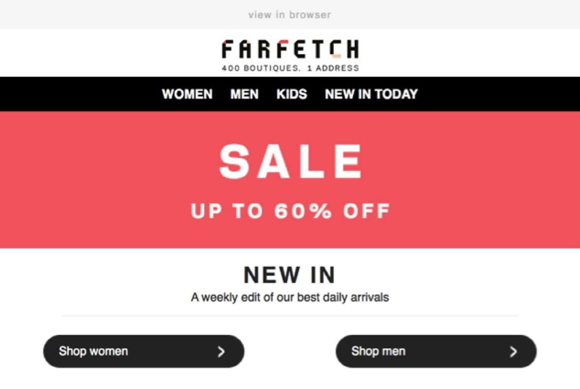 Img. 3 - Farfetch uses two CTA buttons that allow subscribers to choose a category.