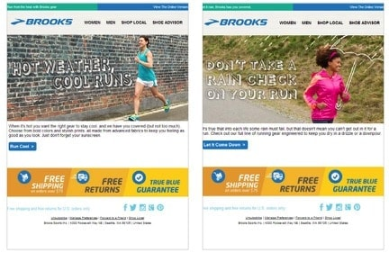 Img. 8 - Brooks sets up multiple campaigns based on weather conditions or temperature ranges.