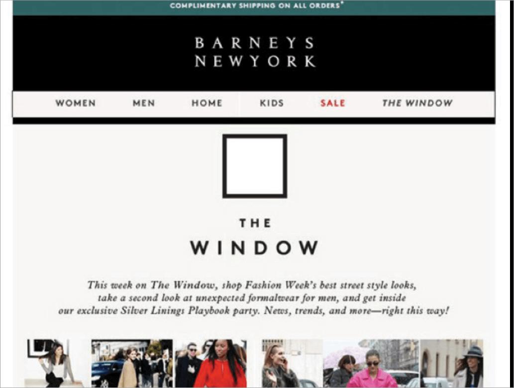 """Rys. 3 Wydarzenia związane ze światem mody to doskonała okazja do promowania własnego asortymentu i zbudowania wokół niego promocji mailingowej. Na powyższym przykładzie sieć domów handlowych Barneys New York """"newsjackuje"""" wydarzenie New York Fashion Week."""