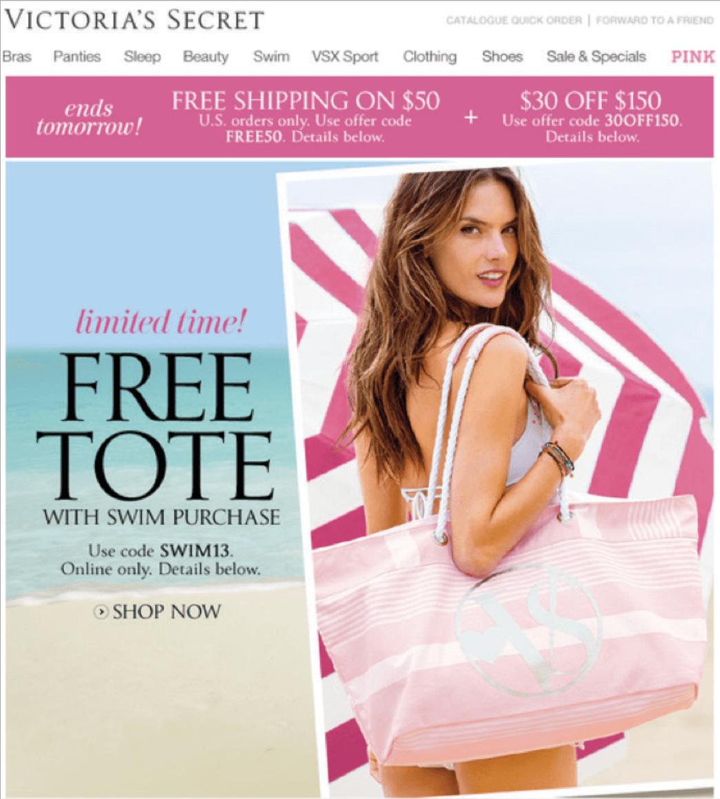 Rys. 8 Sezonowa promocja marki Victoria's Secret: designerska torba plażowa z logo VS dla każdej klientki, która kupi kostium kąpielowy.