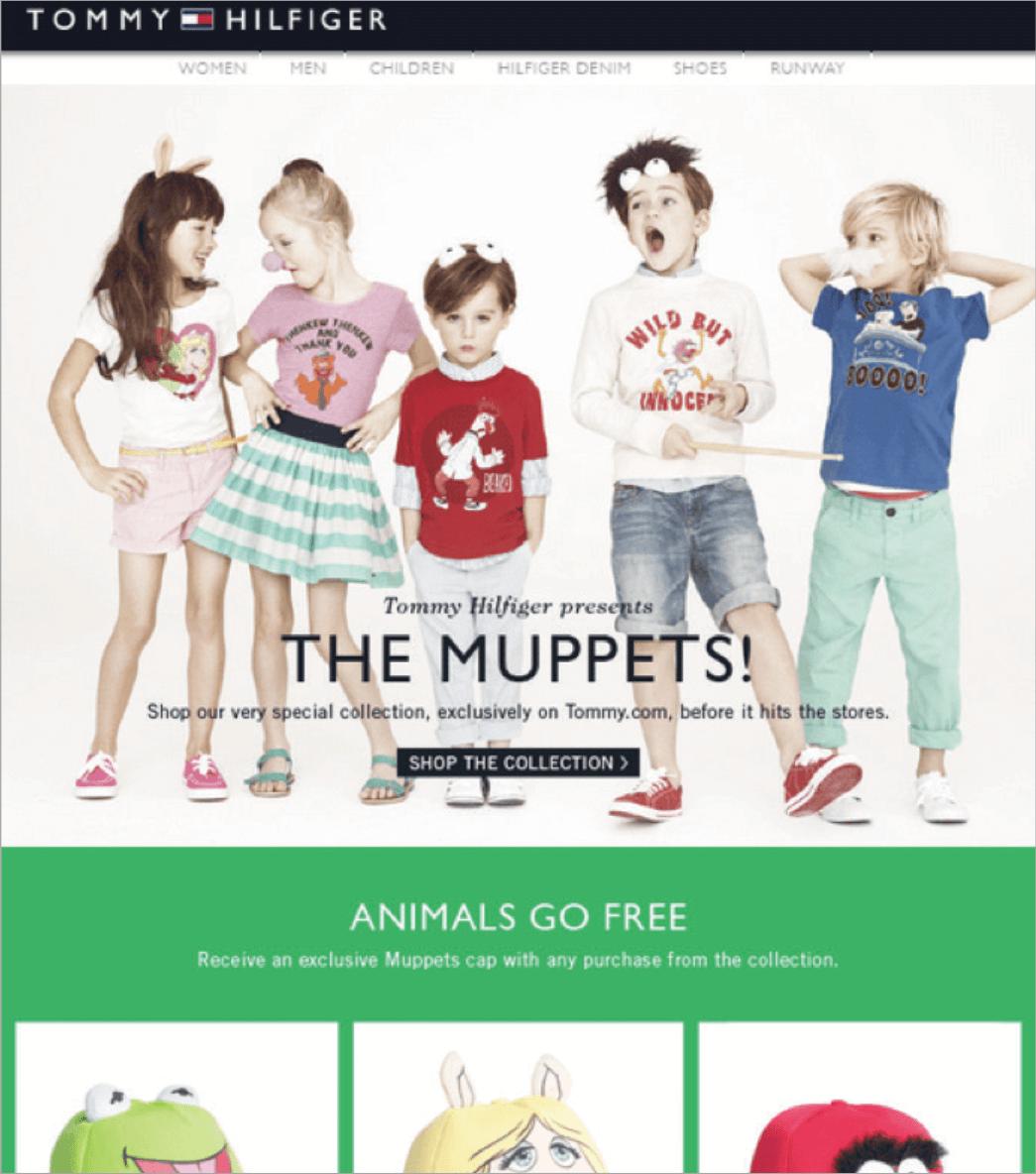 Rys. 10 Które dziecko oprze się czapeczce z daszkiem z muppetów z limitowanej kolekcji? Tommy Hilfiger gra na emocjach rodziców i napędza sprzedaż online.