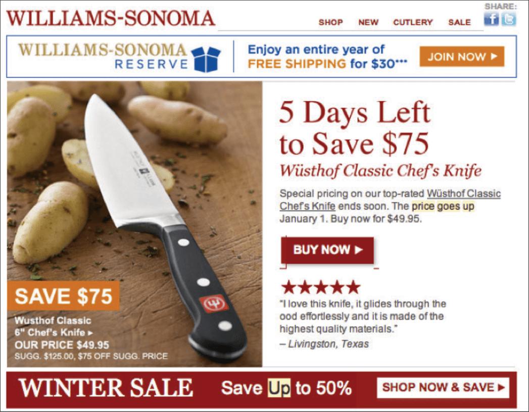 """Rys. 11 """"Masz jeszcze 5 dni, aby zaoszczędzić"""". """"Cena wzrasta 1 stycznia"""". """"Kupuj teraz 50% taniej"""". Takich zwrotów używa amerykańska sieć Williams-Sonoma, aby zapowiedzieć podwyżkę cen noży kuchennych. Podkreślenie korzyści jest tu transparentne i nie pozostawia złudzeń co do oszczędności, jakie można poczynić, zamawiając produkt bez odwlekania decyzji w czasie."""
