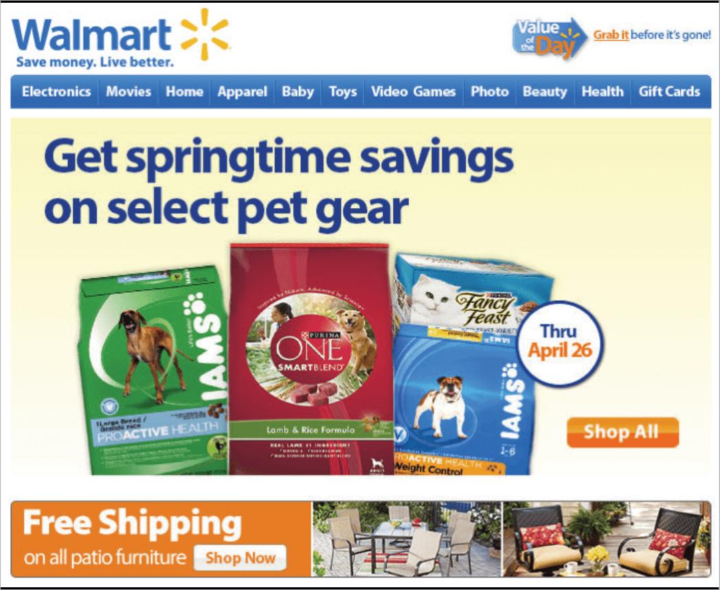 Rys. 12 Walmart, największa w Stanach Zjednoczonych sieć marketów, także używa techniki zapowiadania wyższych cen, aby zachęcić subskrybentów do zakupów. Komunikat jest jasny: duże oszczędności, wyłącznie do 26 kwietnia.
