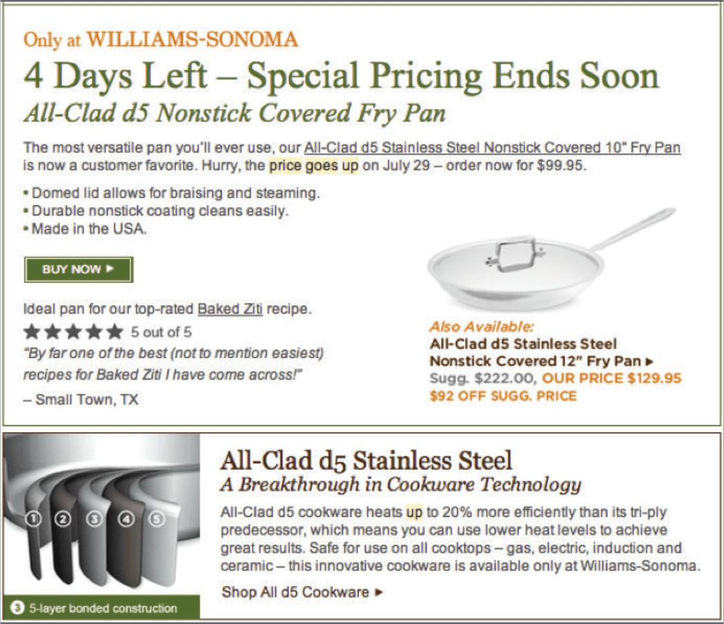 Rys. 13 Jeszcze jeden przykład od Williams-Sonoma. Marka ponownie nie pozostawia złudzeń co do oszczędności, jakie można poczynić oraz daty podniesienia obowiązujących cen.