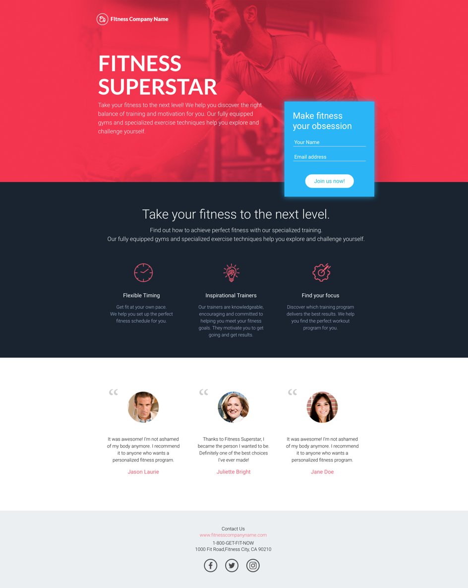 Landing page template example