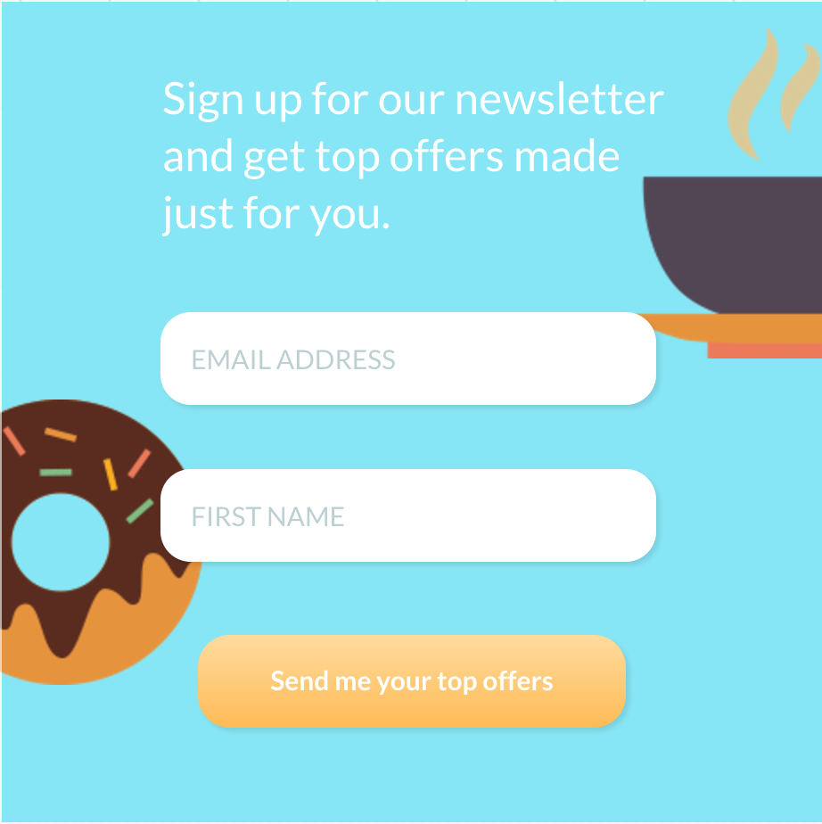 Email sign-up form built using GetResponse