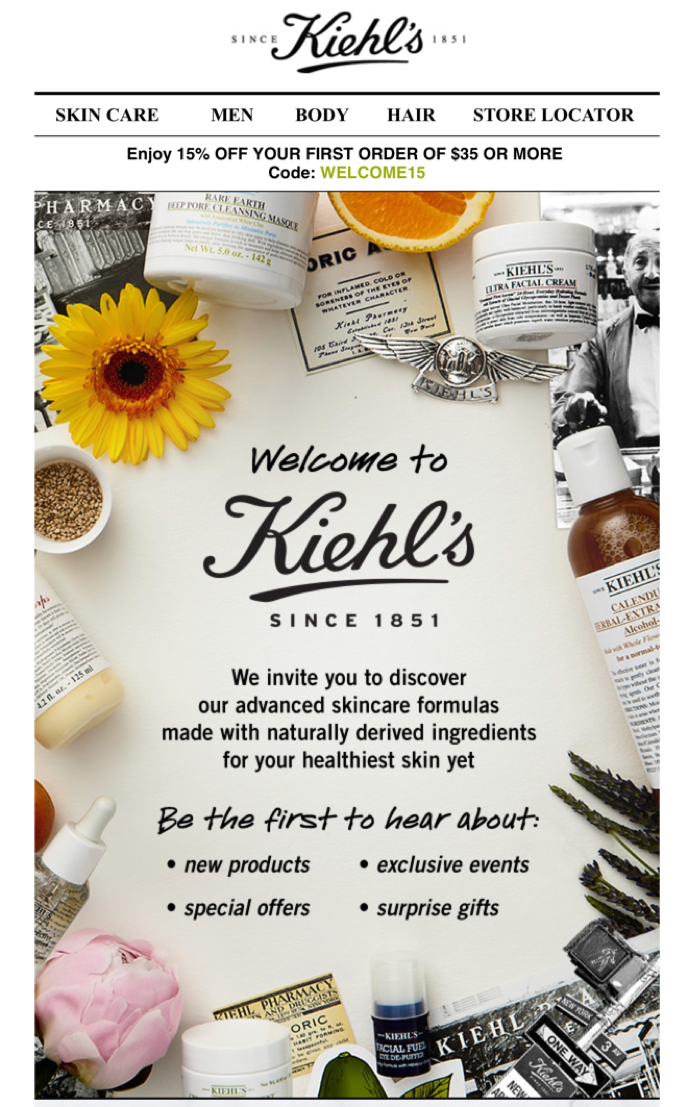 A welcome email from Kiehl's
