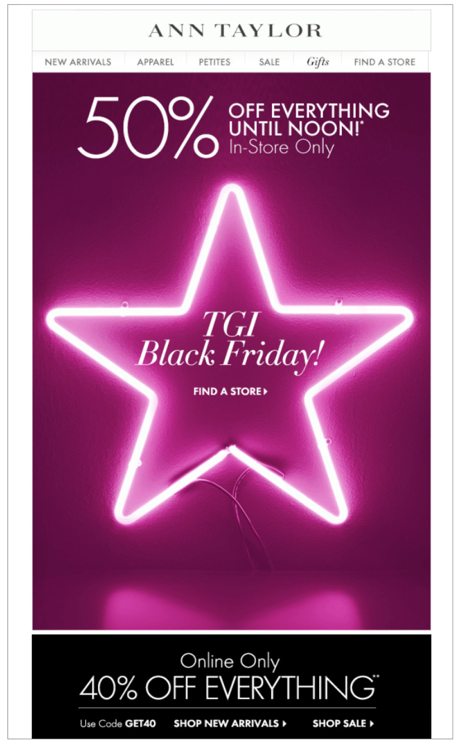 For inspiration, check out this Black Friday 2013 email promotion from Ann Taylor:
