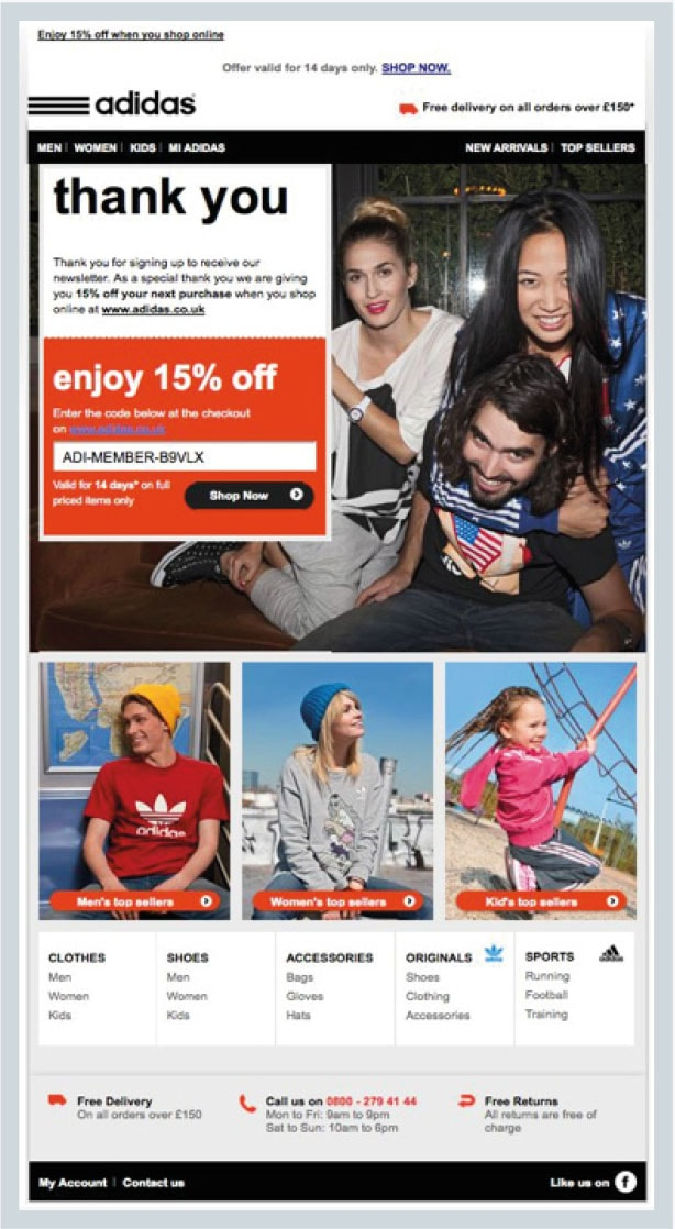 Img. 2 - Adidas newsletter that welcomes new subscribers and rewards them with a discount code valid for 14 days only