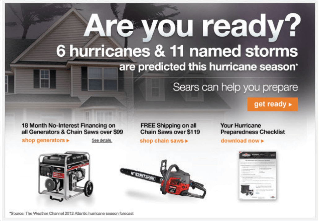 Picture 4 – Sears department store: This ad shows us how to capitalize on current weather forecasts. This email went out in June 2012, preceding a period known for frequent heavy storms and hurricanes. The newsletter reminded subscribers about the upcoming difficult period and the need for preparation, which includes purchasing things like chainsaws.
