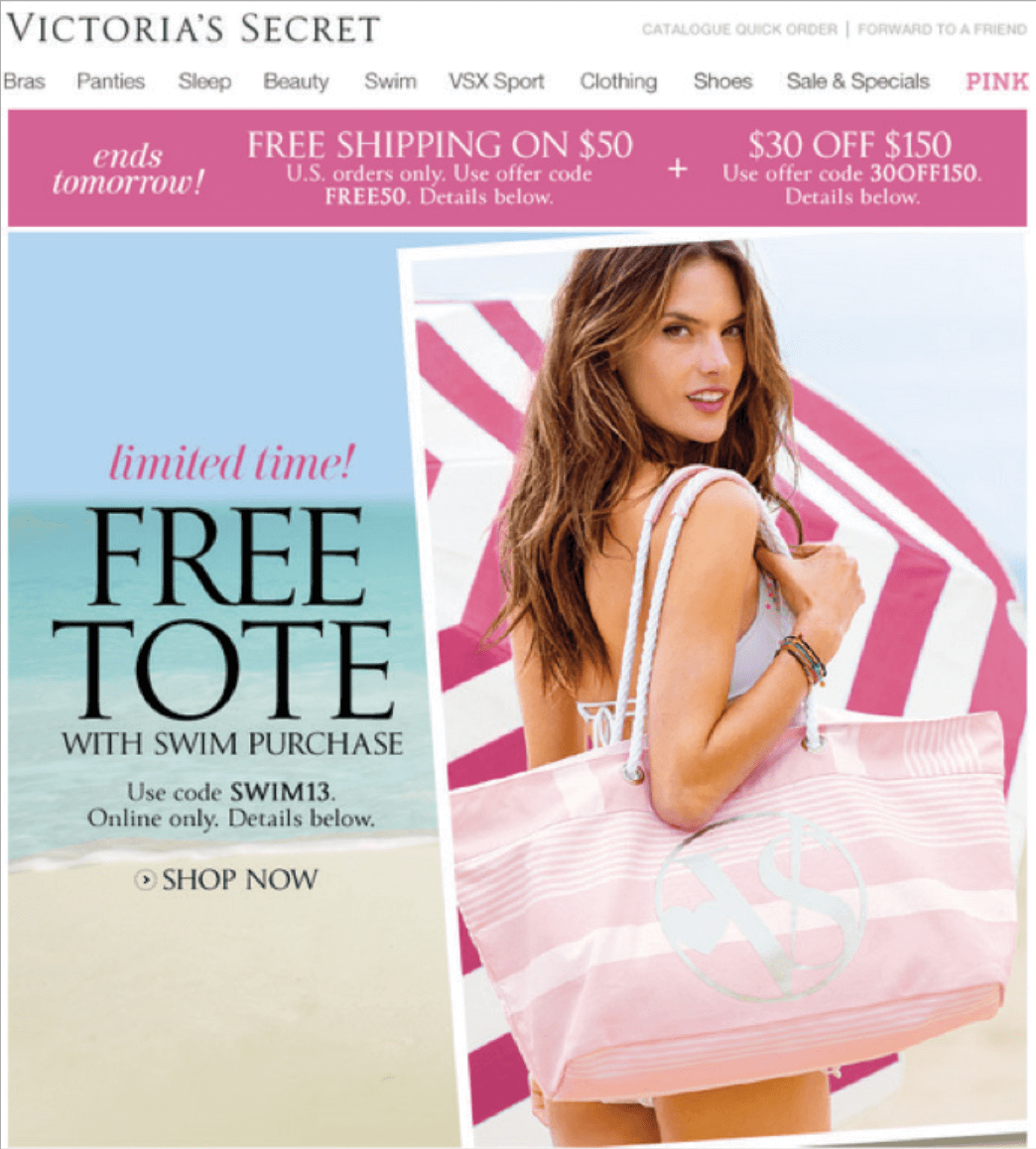 Picture 8 – Victoria's Secret seasonal offer: free designer tote bag with the VS logo for each customer who purchases a swimsuit.
