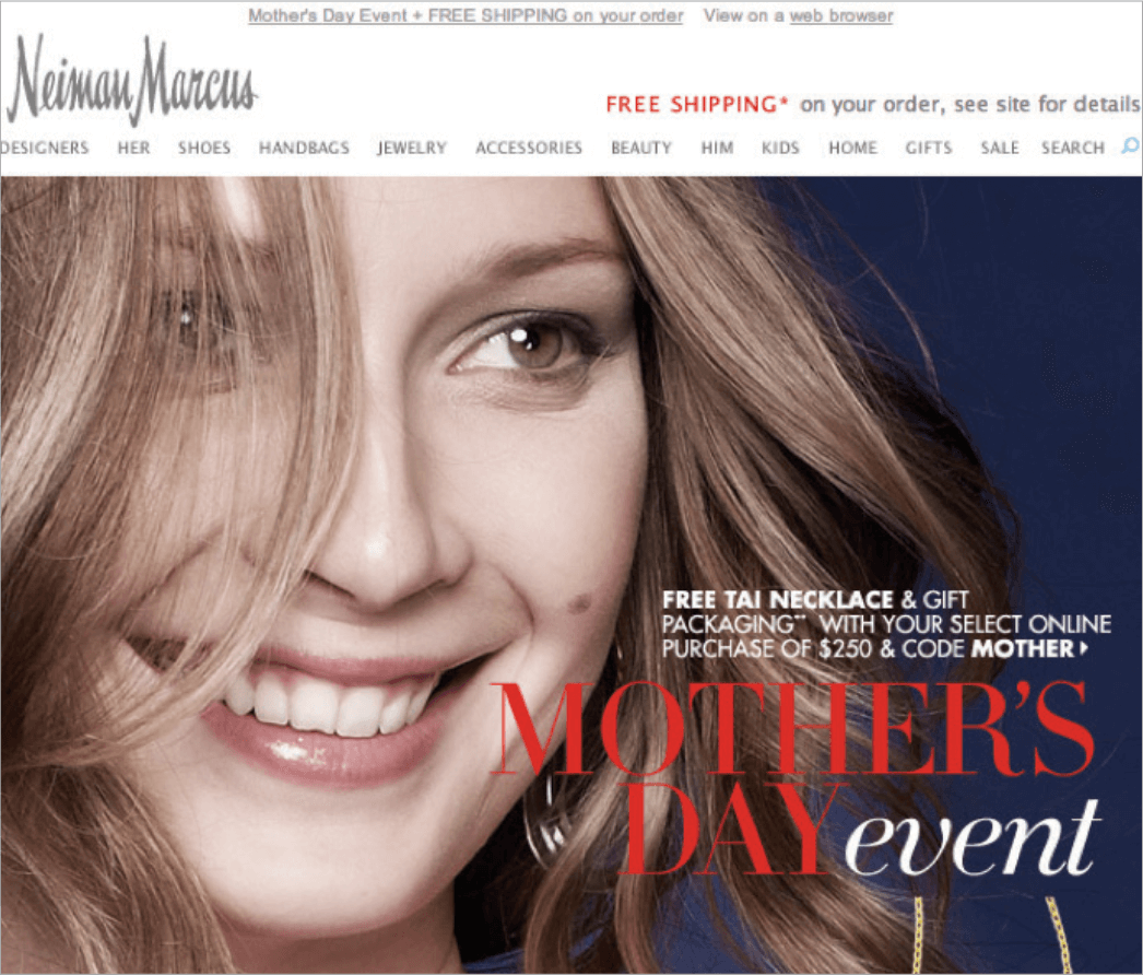 Picture 9 – Neiman Marcus: free necklace for International Mother's Day. Condition: Purchase products for minimum of $250.