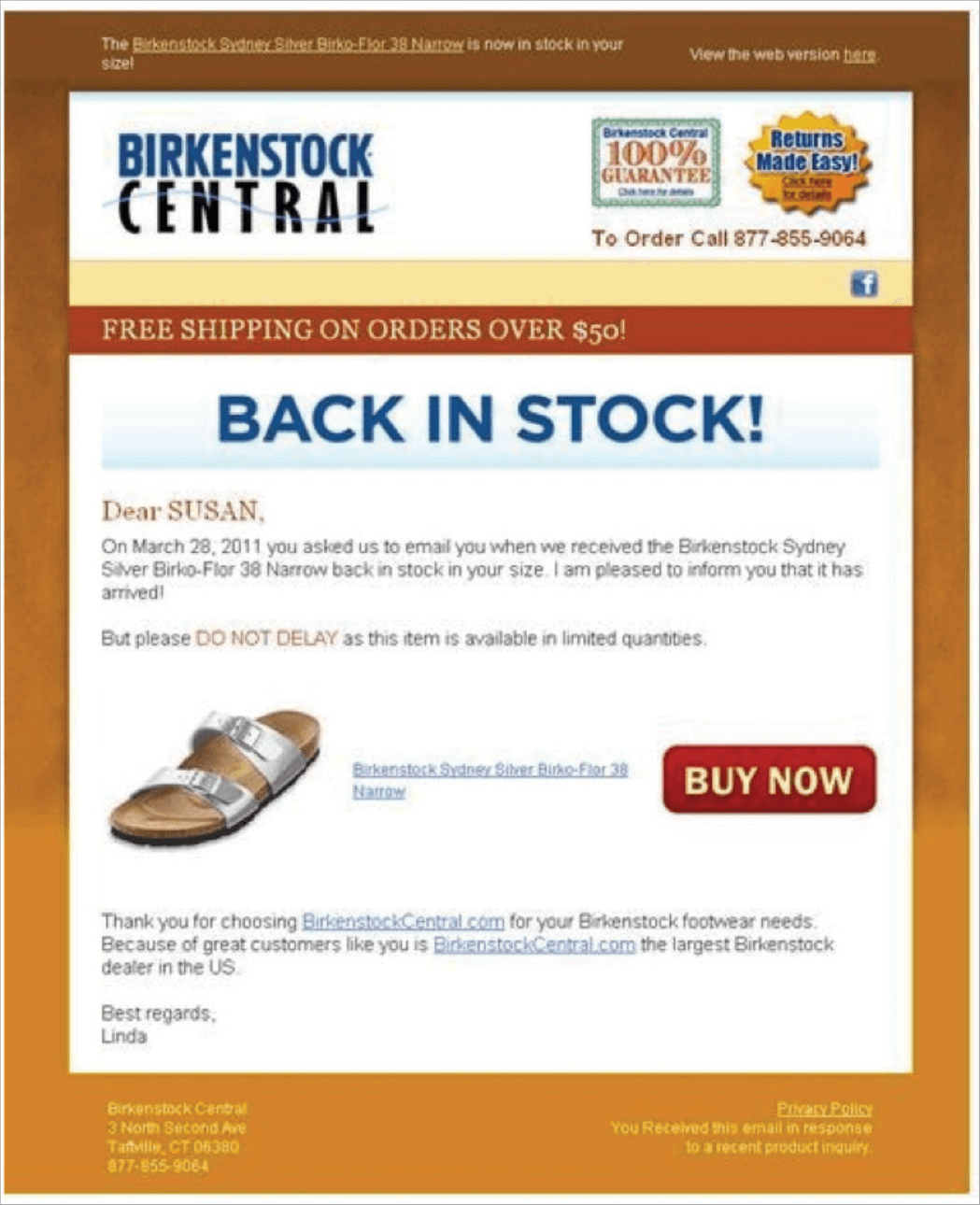 "Picture 16 – Typical ""back in stock"" newsletter: Notice the clear message about the returning availability of a particular product, personalized content (""Name""), and call-to-action button."