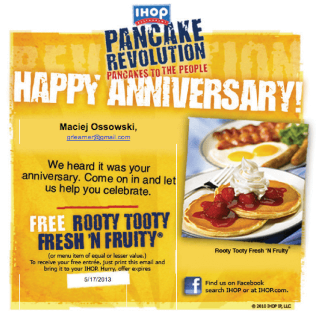 "Picture 17 – IHOP restaurants: Here's how they say thank you: ""We heard it was your anniversary. Come on in and let us help you celebrate""."