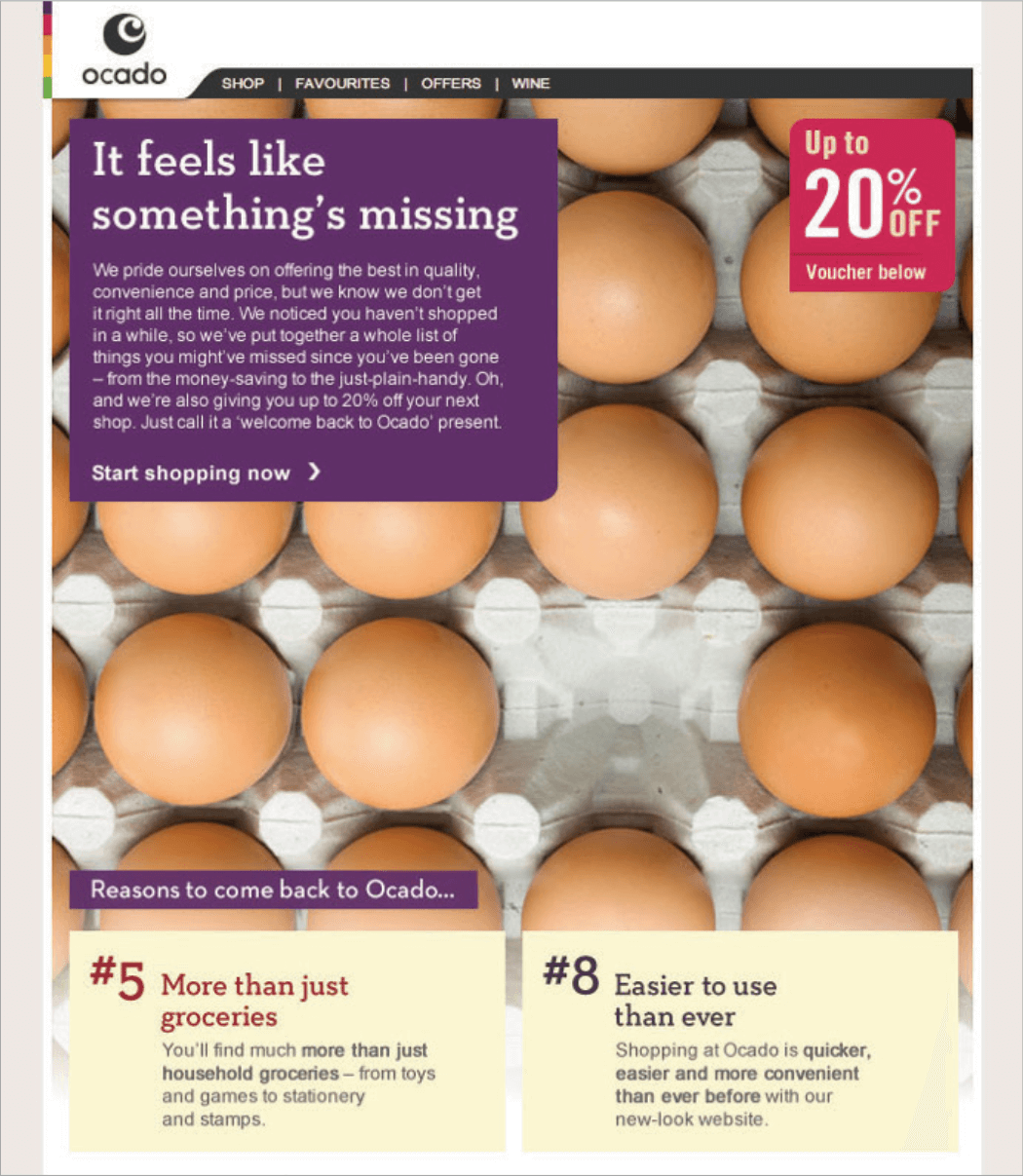 Picture 19 – Ocado: It feels like something's missing... A very creative design from the British Internet retailer, with a strong argument on why to re-engage with the communication, along with a voucher worth up to 20% off the next purchase.