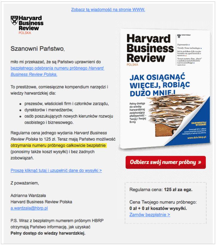 Grafika 2 - Newsletter Harvard Business Review