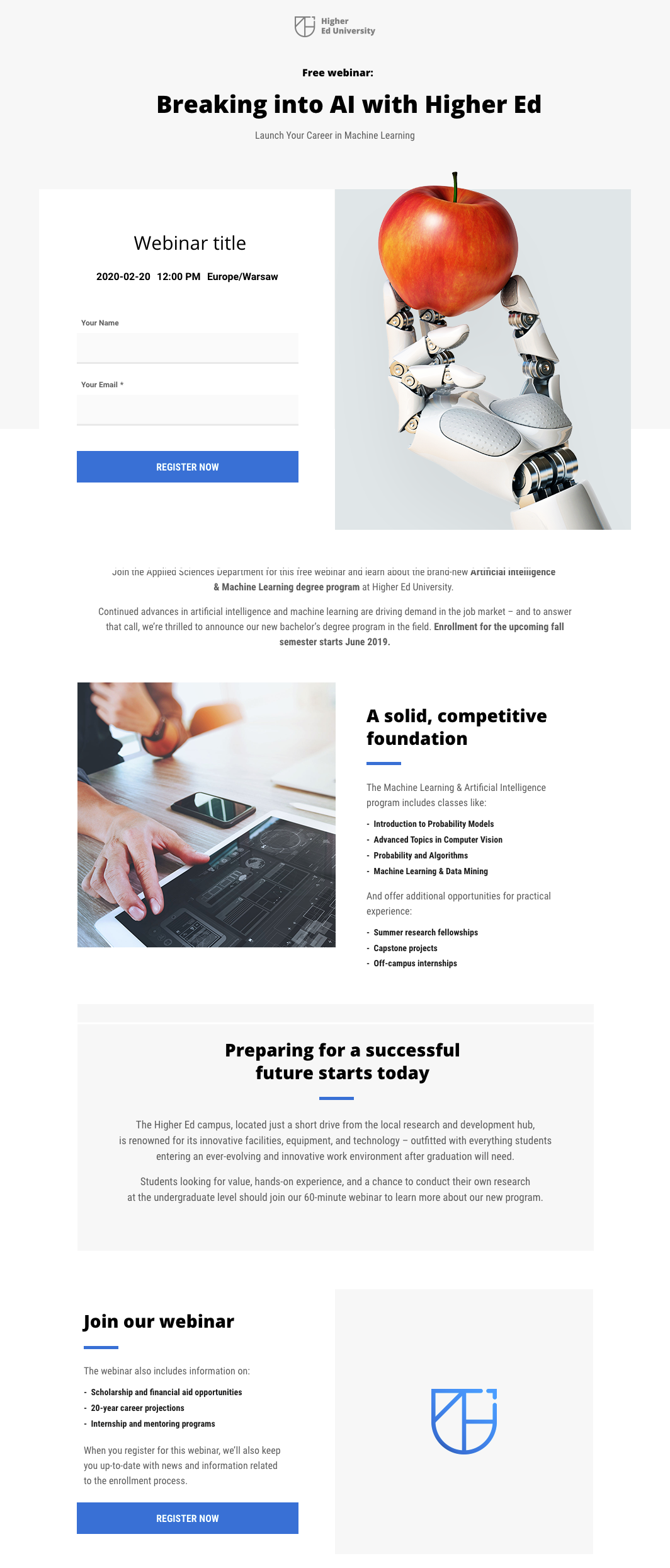 Webinar landing page template available in GetResponse.
