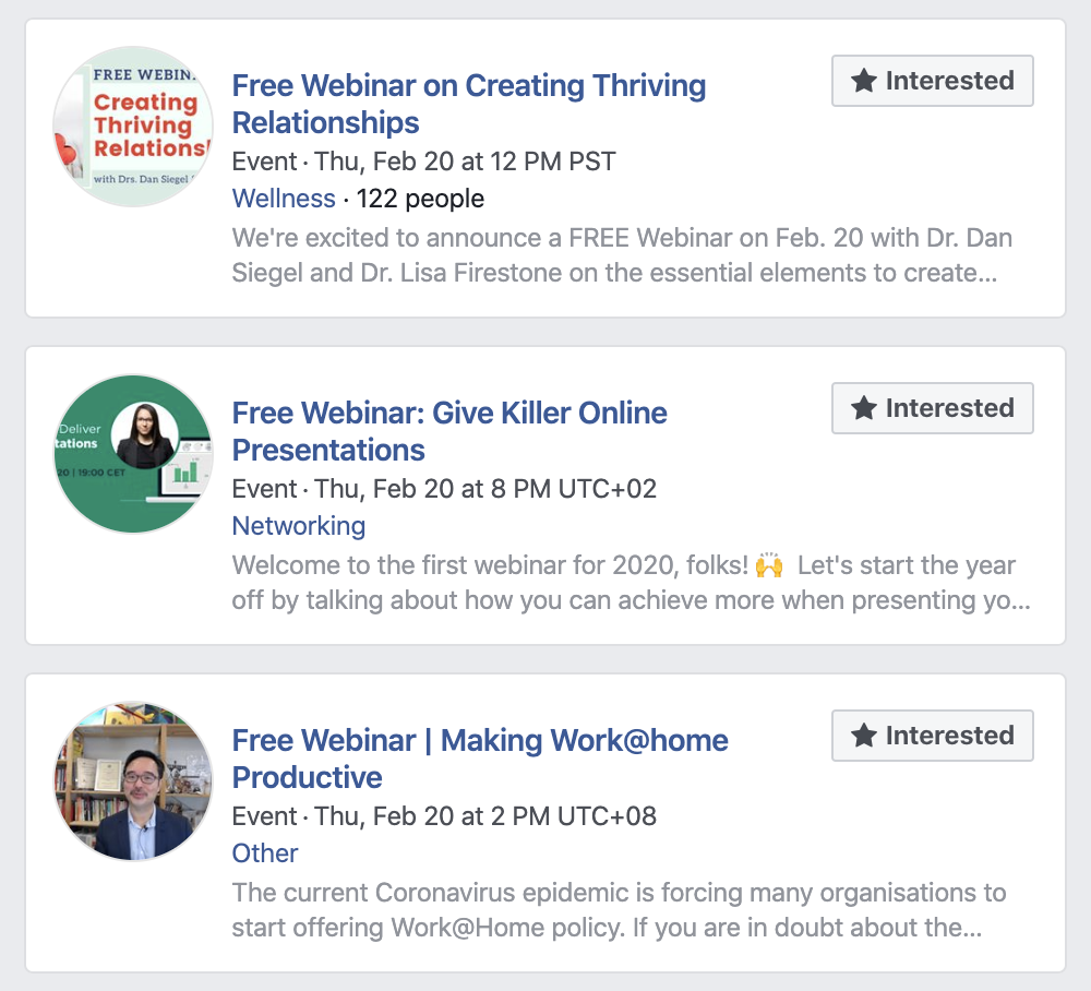 Webinar promotion using Facebook events.