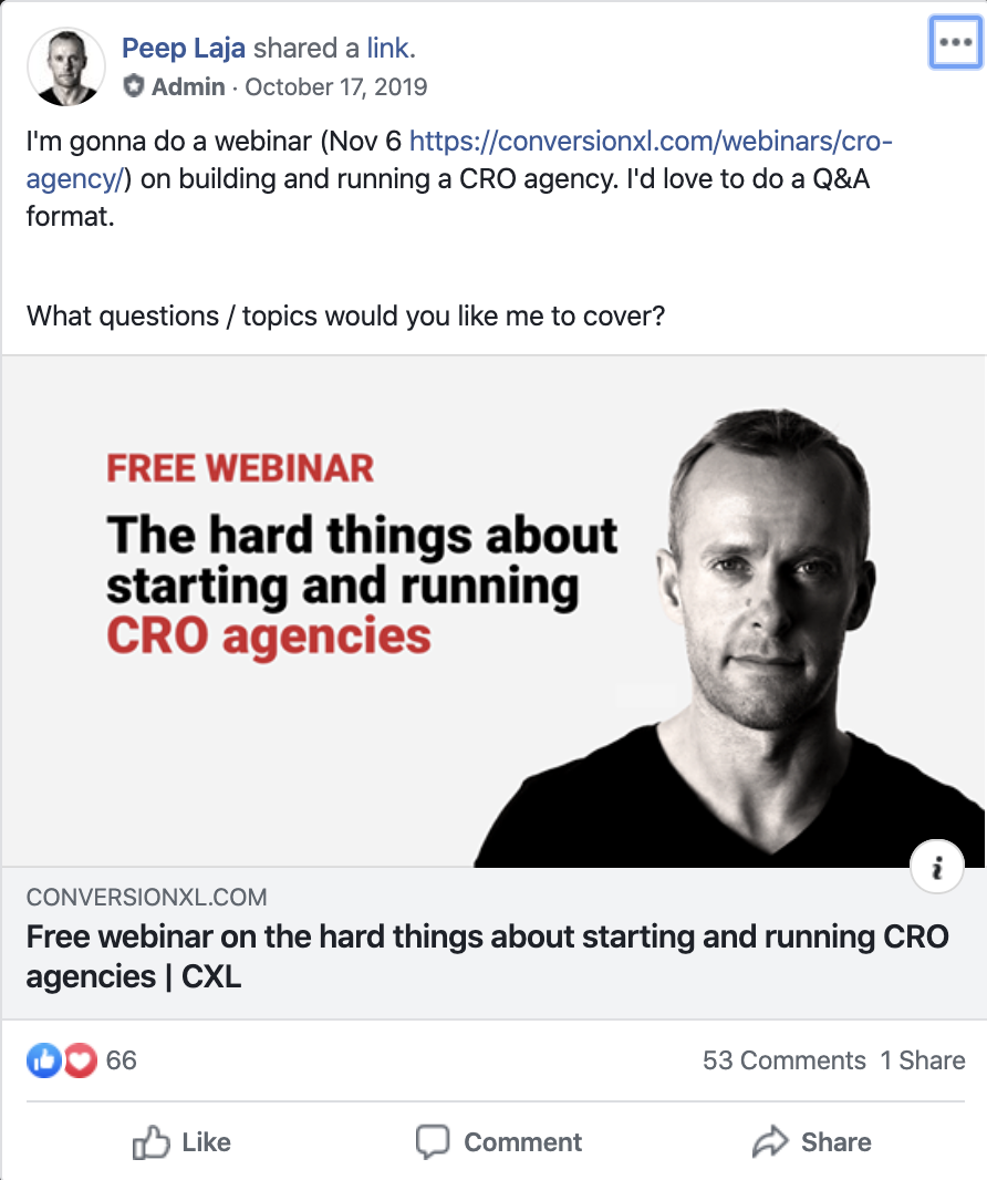 Webinar promotion in Facebook groups.