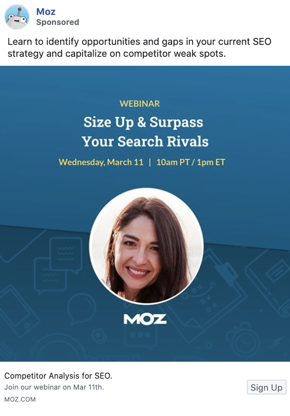 Paid webinar promotion on Facebook by Moz.
