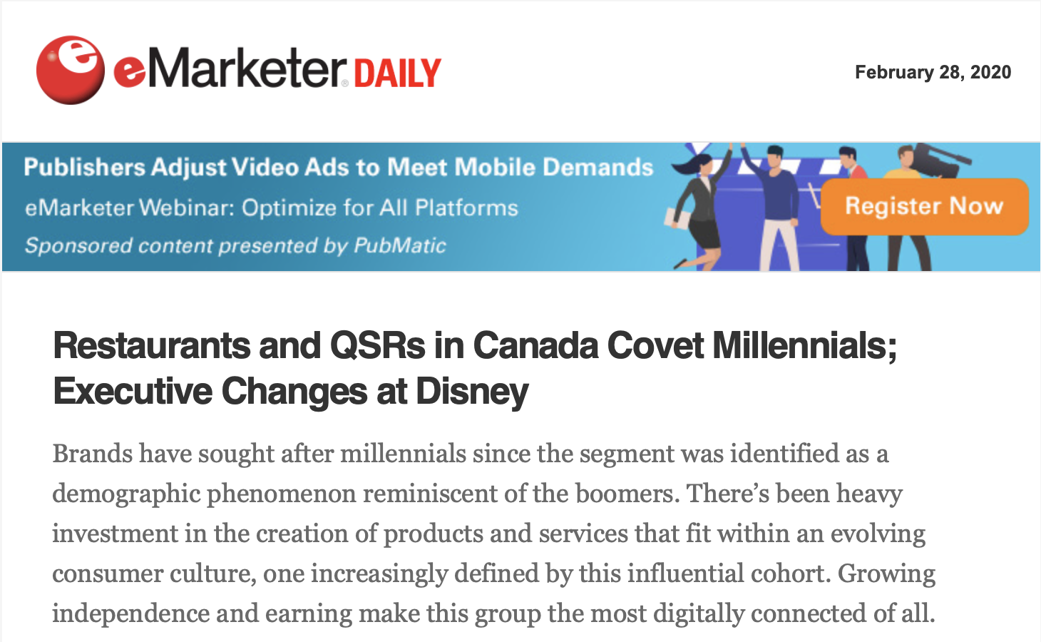 Promoting webinars through sponsored email from Emarketer.
