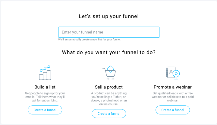 Setting up the list building funnel.